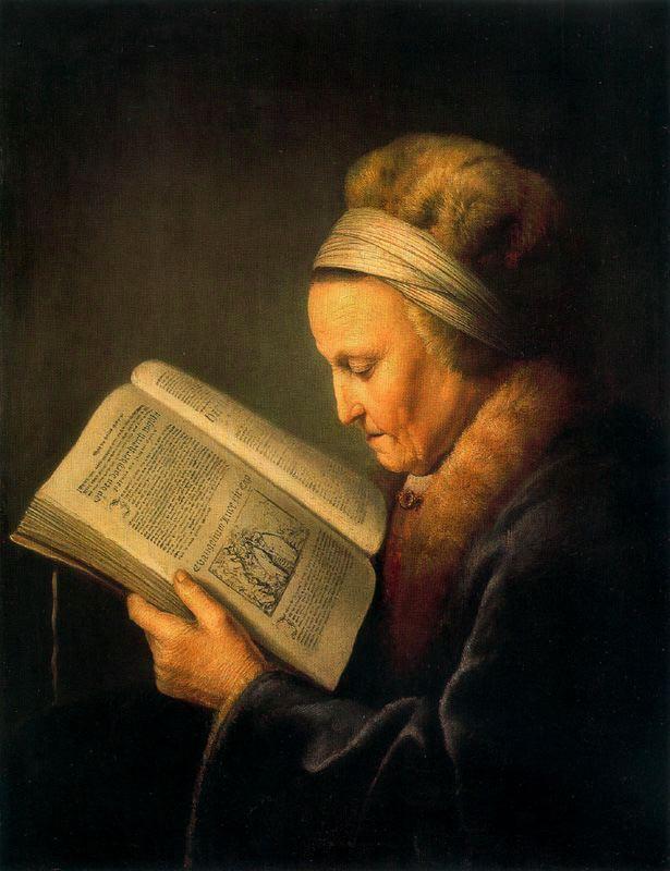 Dou Anciana leyendo un libro