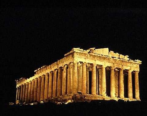 Imagen del Partenón por la noche